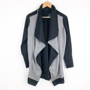 Betabrand Black & Grey Open Front Long Jacket